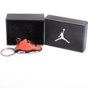 "Jordan 6 Retro ""Red Black"" Shoe Keychain"